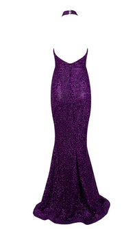 Plum Passion Purple Glitter Sleeveless Mock Neck Backless Halter Mermaid Maxi Dress