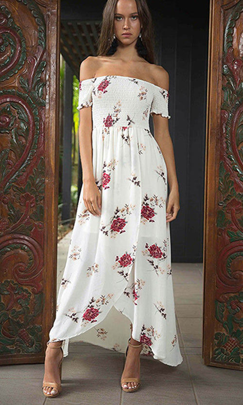 Sweet Serenity Floral Pattern Short Sleeve Smocked Off The Shoulder Split Front Casual Maxi Dress - 3 Colors Available