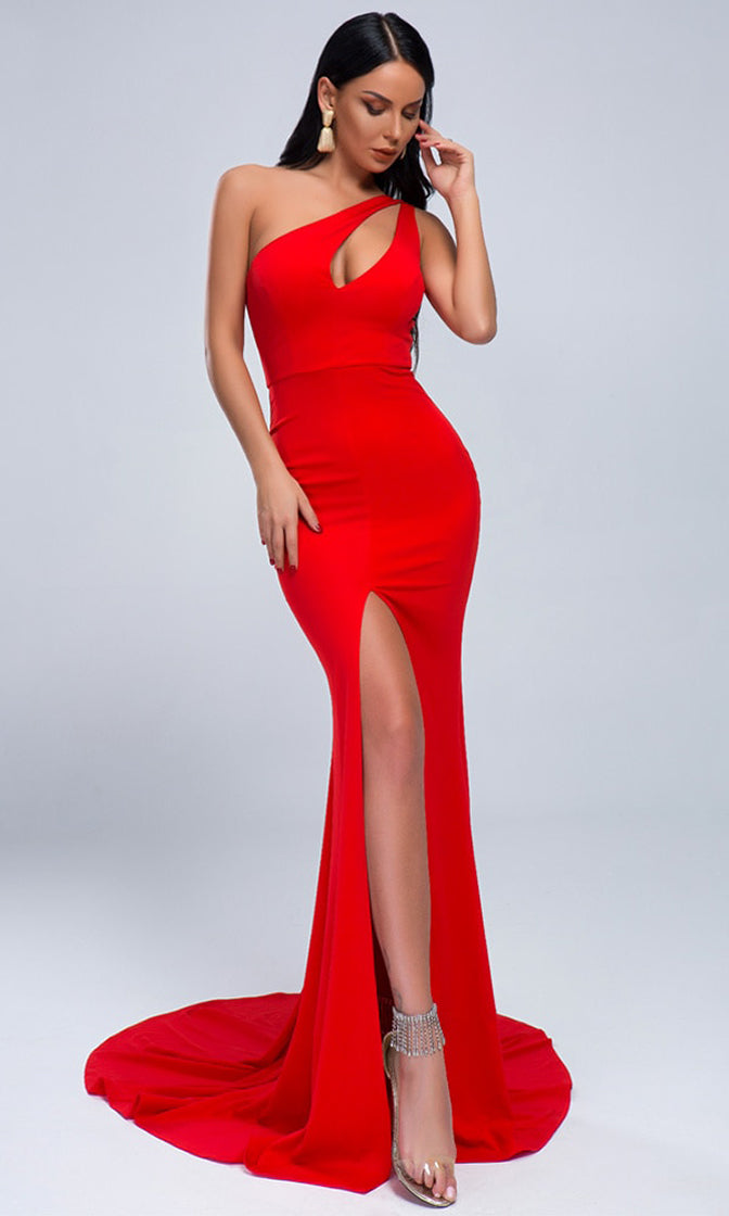 Quick Decision Red Sleeveless One Shoulder Cut Out Bust Front Slit Train Maxi Dress