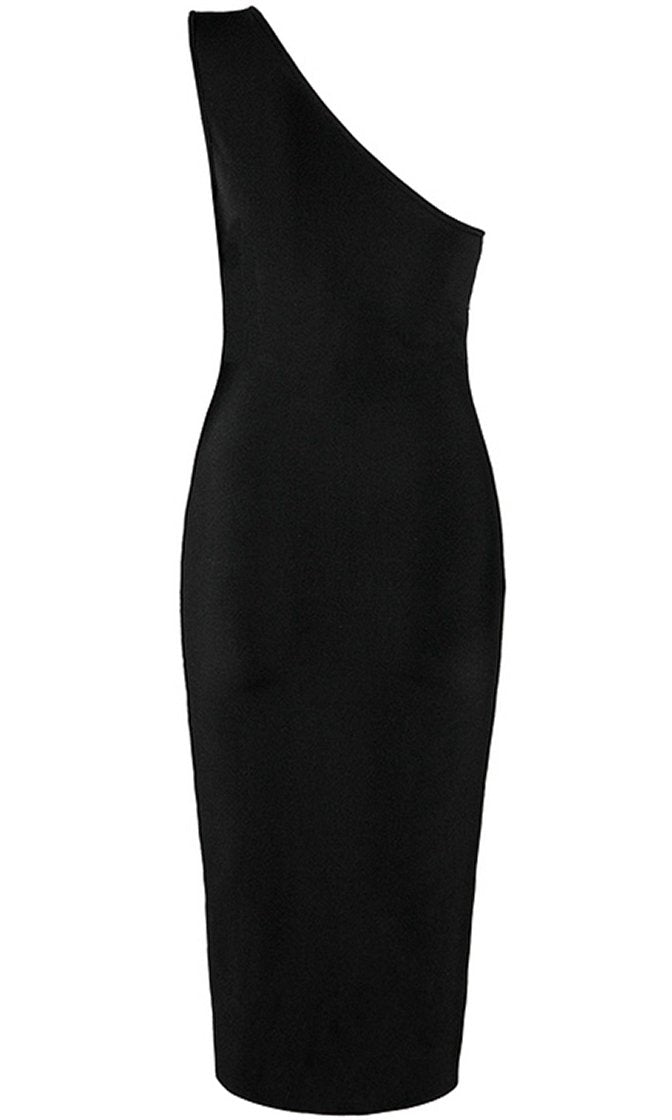Falling In Love Black Sleeveless Contrast Trim One Shoulder Split Side Bodycon Bandage Midi Dress