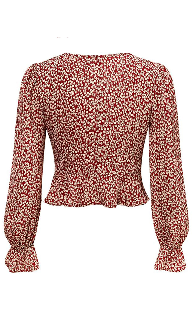 New Blooms Red Beige Dot Pattern Long Lantern Sleeve V Neck Button Ruffle Peplum Blouse Top