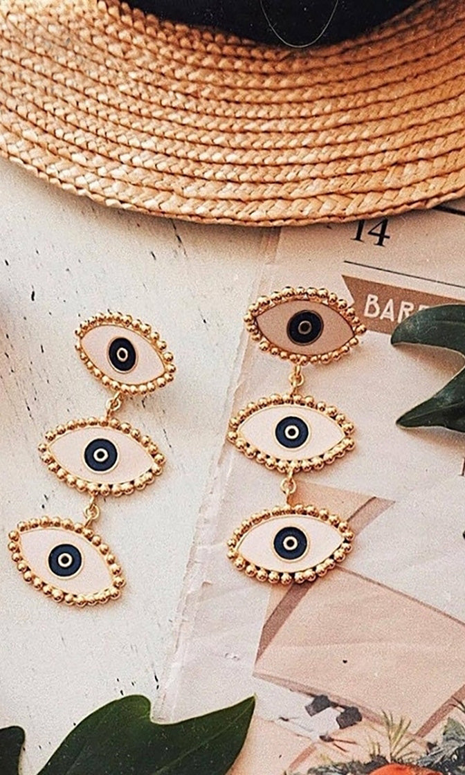 Eye See You White Gold Three Eyeball Dangle Earrings