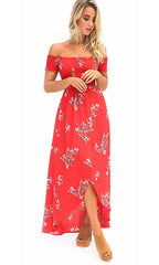 Sweet Serenity Floral Pattern Short Sleeve Smocked Off The Shoulder Split Front Casual Maxi Dress - 3 Colors Available - Sold Out
