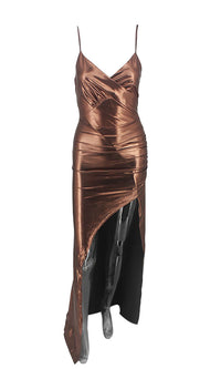 Liquid Metal Bronze Metallic Sleeveless Spaghetti Strap Cross Wrap V Neckline Asymmetric High Slit Maxi Dress - Sold Out