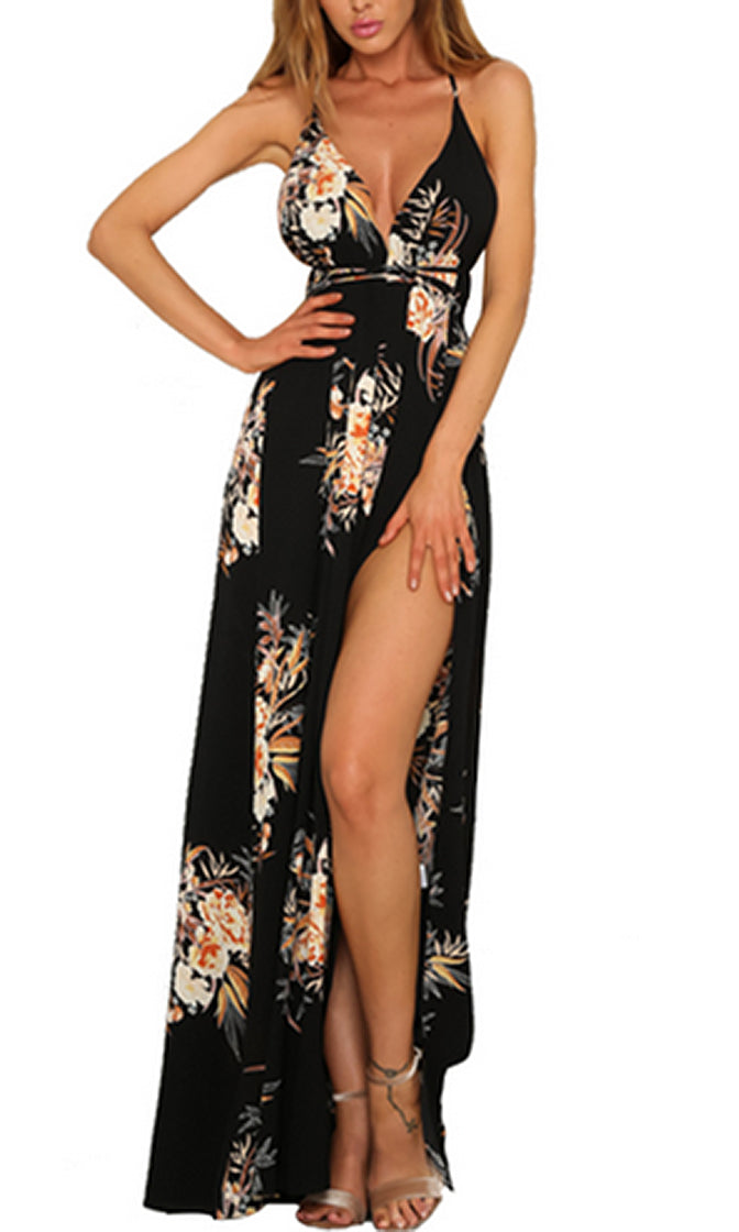 I Want You Back Black Floral Pattern Sleeveless Spaghetti Strap V Neck Backless Split Casual Maxi Dress - Sold Out