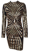 Tiger's Eye Black Gold Geometric Sequin Long Sleeve Mock Neck Bodycon Midi Dress - Sold Out