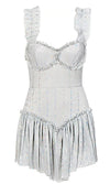 Jump For Joy White Silver Sequin Sleeveless Ruffle V Neck Flounce Hem Flare Mini Dress