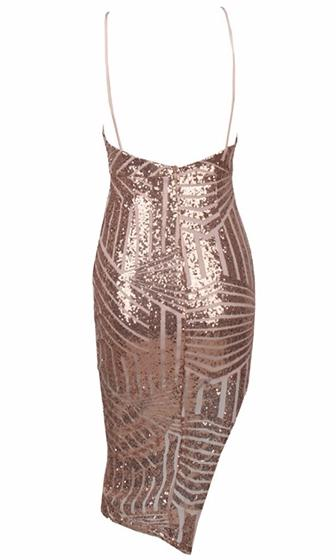 In Rare Form Gold Geometric Sequin Sleeveless Spaghetti Strap Plunge V Neck Bodycon Midi Dress