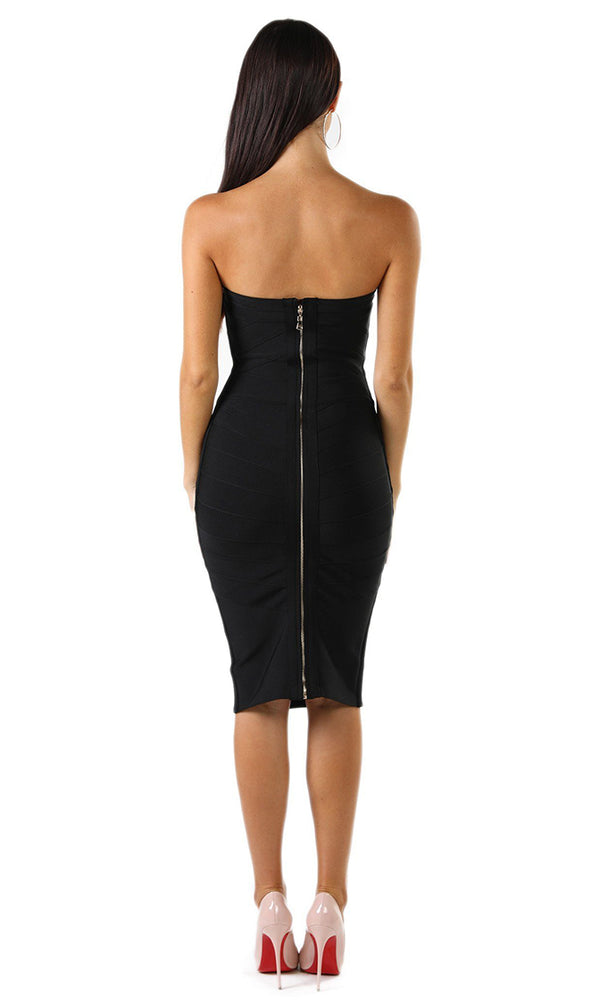Sweet Sophisticate Black Strapless Bodycon Bandage Midi Dress