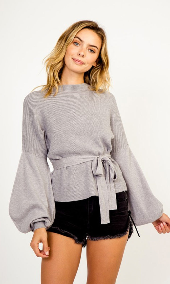Full Of It Long Lantern Sleeve Crew Neck Tie Waist Pullover Sweater - 5 Colors Available