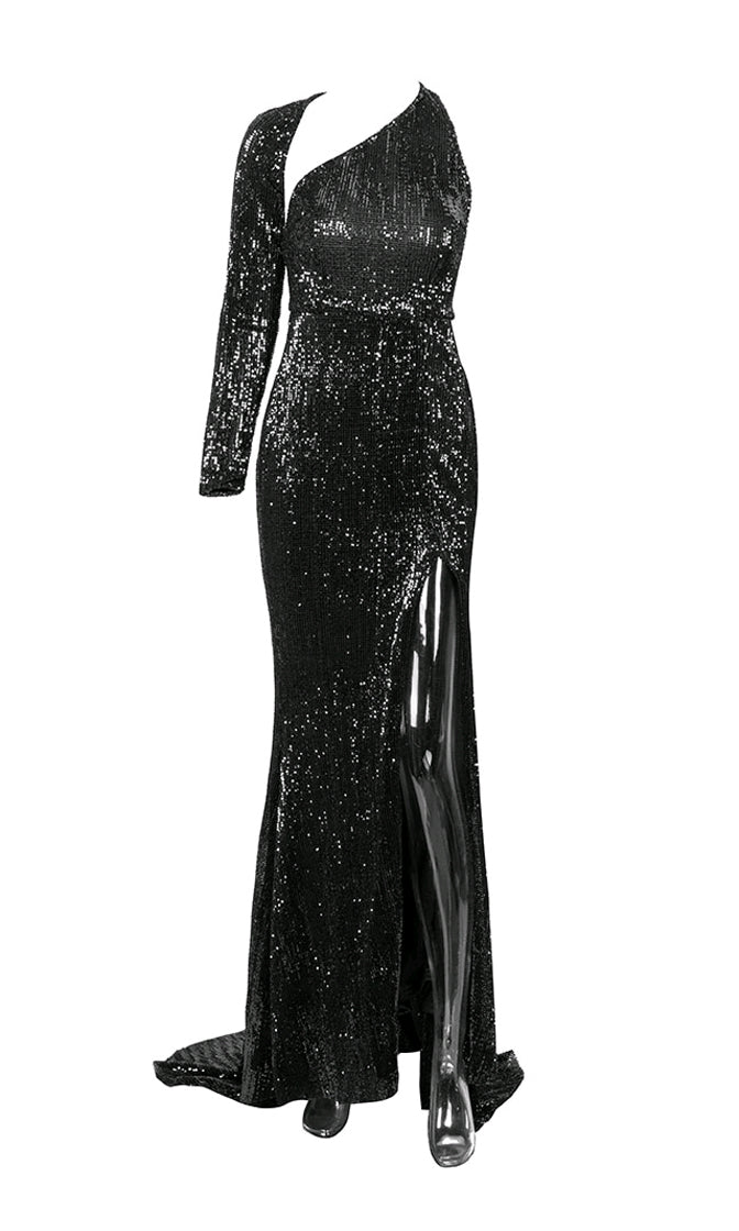 Far From Over Black Sequin Long Sleeve One Shoulder Cut Out Backless Fit And Flare Maxi Dress