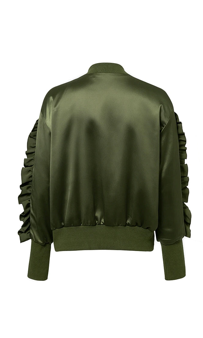 Dropping Bombs Satin Long Sleeve Ruffle Lace Up Zip Bomber Jacket - 2 Colors Available