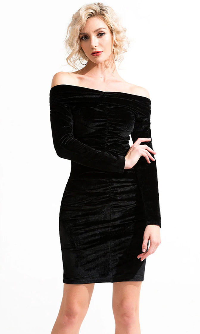 Don't Be Afraid Black Velvet Long Sleeve Off The Shoulder Ruched Bodycon Mini Dress