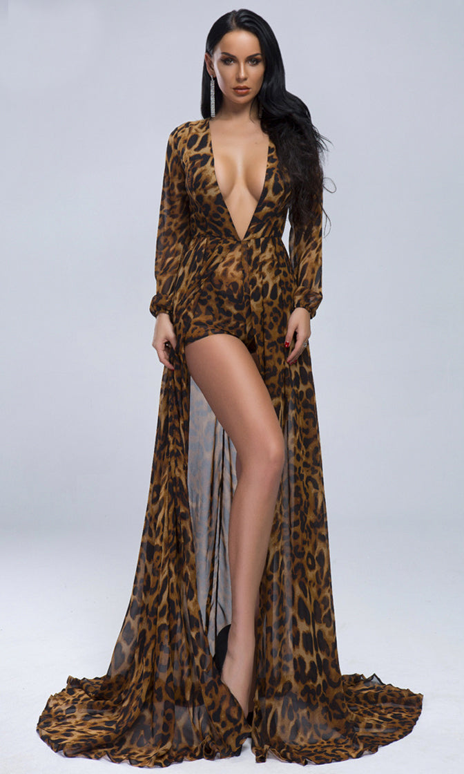 Rock My World Leopard Print Animal Pattern Long Sleeve Plunge V Neck Romper Split Maxi Dress