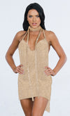 Indie XO Getting Famous White Beaded Rhinestone Sleeveless Halter Plunge V Neck Cut Out Monokini One Piece Swimsuit