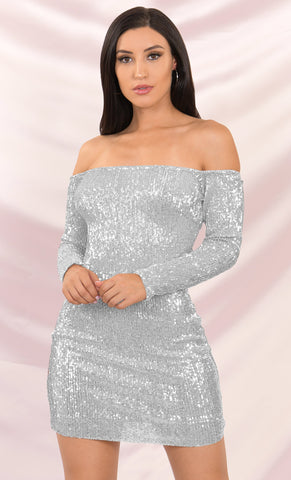 Instagram Queen Silver Sequin Strapless Ruffle Bodycon Mini Dress