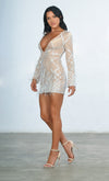 Made You Blush White Geometric Pattern Sequin Feather Long Sleeve Plunge V Neck Bodycon Mini Dress