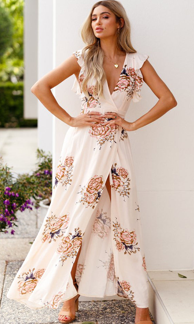 Pleasant Dreams Beige Floral Pattern Sleeveless V Neck Wrap Split Casual Maxi Dress
