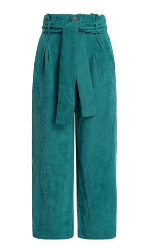 Hard to Find Tie Waist Corduroy Palazzo Loose Double Slit Trouser Pants - 2 Colors Available
