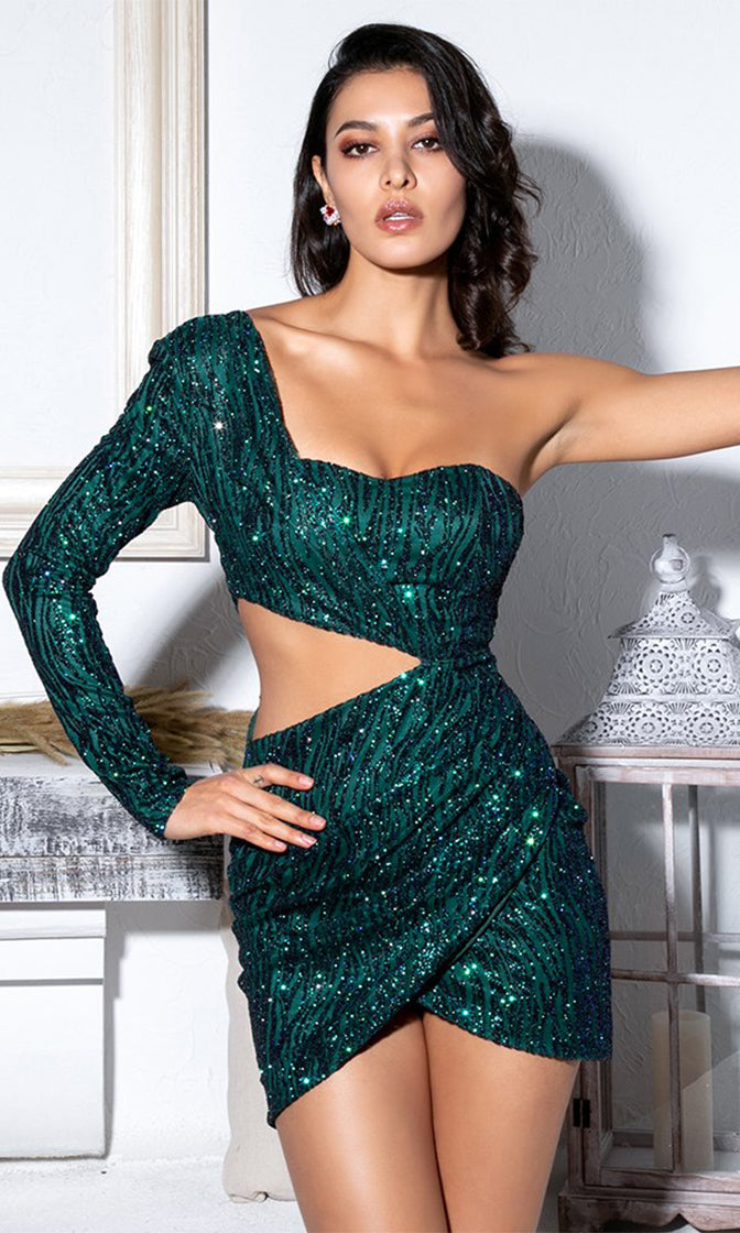 Zest For Life Teal Glitter Long Sleeve One Shoulder Cut Out Side Wrap Tulip Bodycon Mini Dress