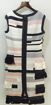 Uptown Girl Black White Grey Pink Colorblock Geometric Jacquard Fringe Sleeveless Scoop Neck Bodycon Bandage Midi Dress - Sold out