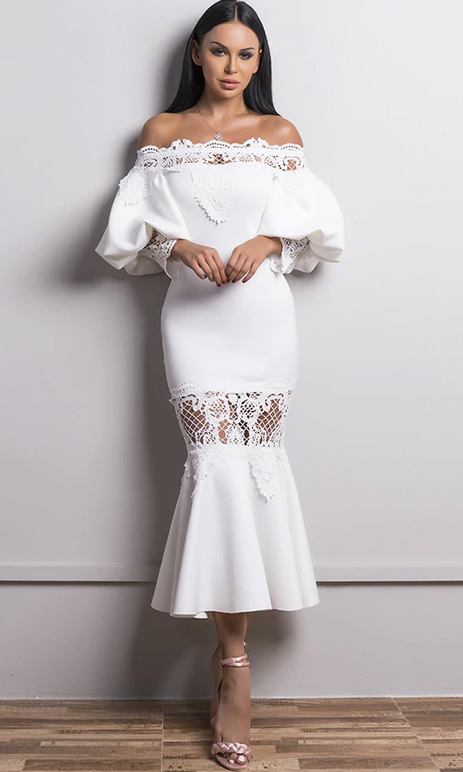 Get You Back White 3/4 Lantern Puff Sleeve Lace Trim Off The Shoulder Fishtail Bodycon Midi Dress