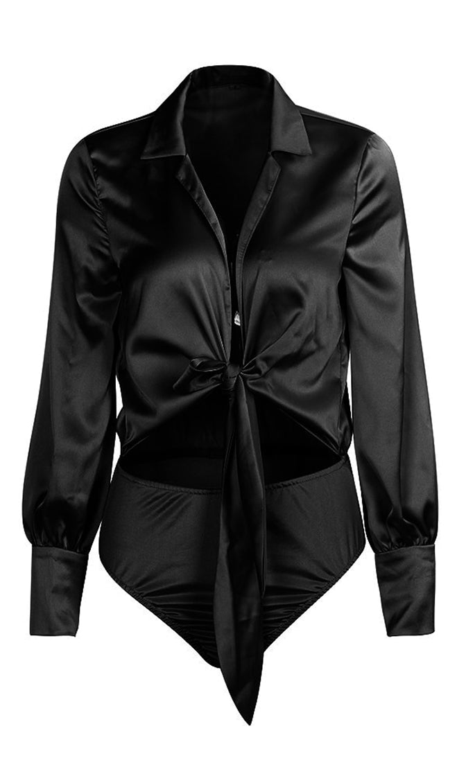 Champagne On Ice Black Satin Long Sleeve V Neck Bow Cut Out Waist Bodysuit Top