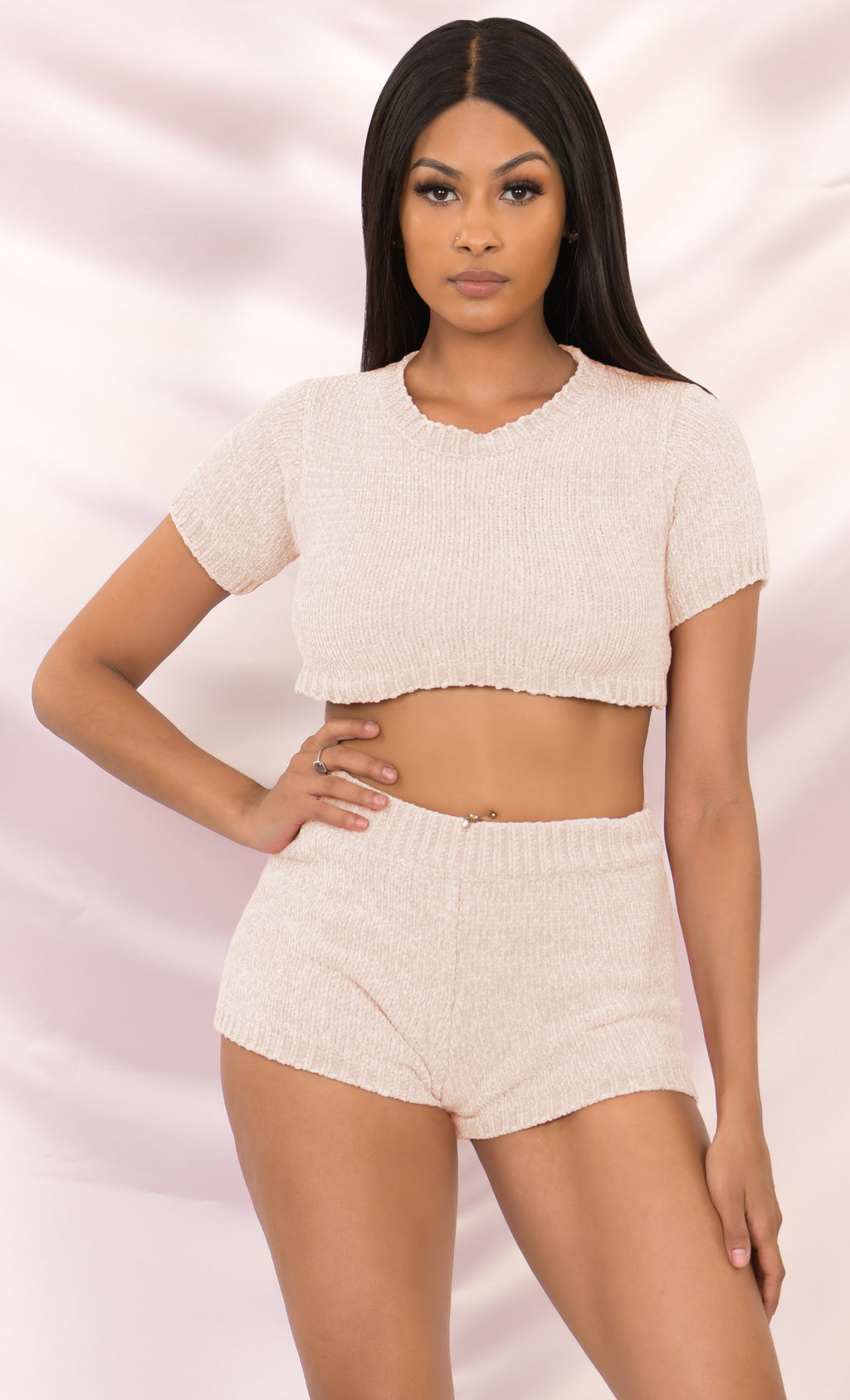 Always Chill Vanilla Short Sleeve Crew Neck Crop Top Sweater Chenille Elastic Shorts Two Piece Lounge Romper Set