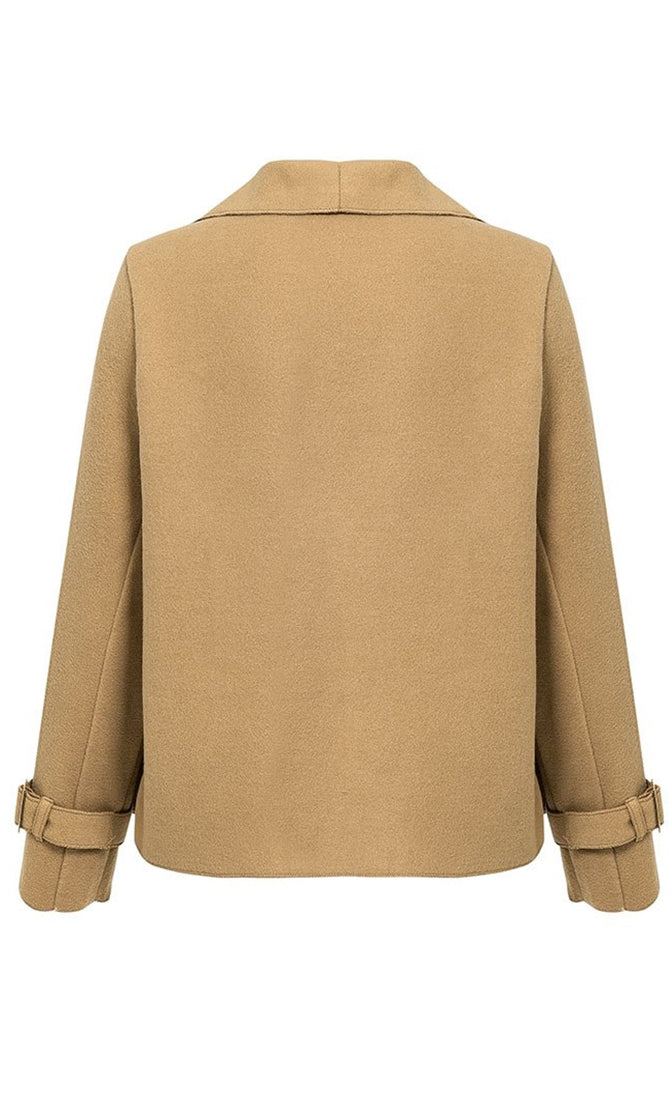 Top Of The Chain Khaki Long Sleeve Wool Blend Loose Open Front Crop Jacket Outerwear - 2 Colors Available