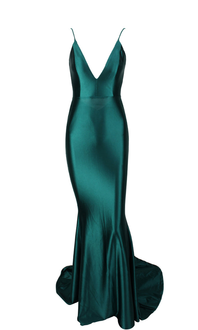 Glowing Goddess Emerald Green Sleeveless Spaghetti Strap Plunge V Neck Ruched Back Mermaid Maxi Dress