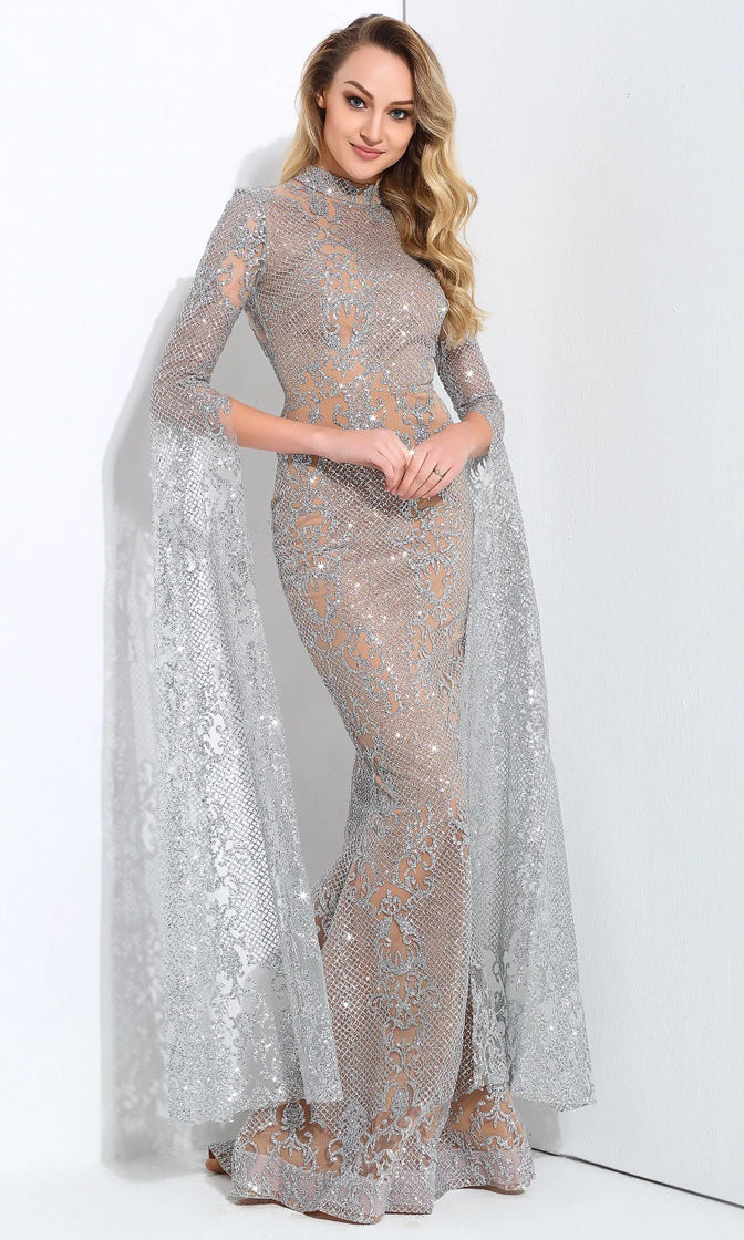 Award Season Silver Glitter Geometric Lace Pattern Long Sleeve Mock Neck Mermaid Dress - Sold Out