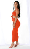Island Romance Orange Sleeveless Square Neck Wrap Tie Crop Top Bodycon Two Piece Midi Dress