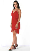 I'm Feeling Something Red Sleeveless Spaghetti Strap Fringe Tassel V Neck Bodycon Mini Dress