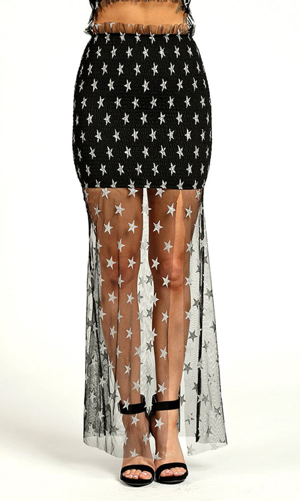 Gazing Upward Sheer Mesh Star Pattern Ruffle Waist Slit Maxi Skirt - 2 Colors Available