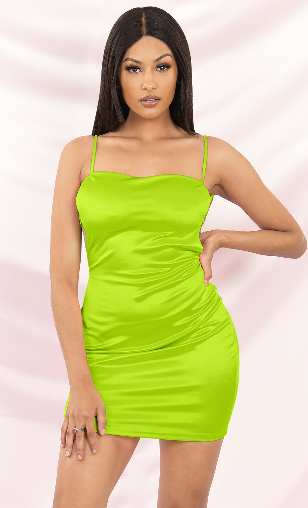 Private Lives Neon Green Sleeveless Spaghetti Strap Square Neck Backless Cut Out Bodycon Mini Dress - 2 Colors Available