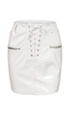 Slicking To It Faux Leather PU High Waist Lace Up Zipper Bodycon Pencil Mini Skirt - 2 Colors Available