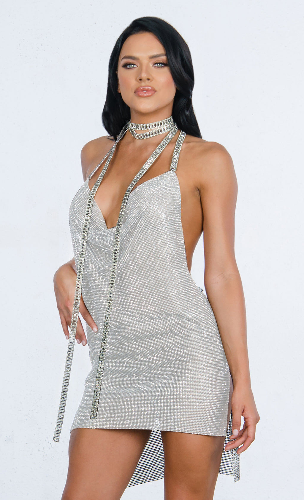 Indie XO Red Carpet Ready Silver Diamanté Metallic Swarovski Crystal Rhinestone Mesh Baguette Cut Halter Chain Backless V Neck Mini Dress - Sold Out