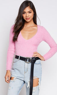 Never Gonna Stop Faux Fur Long Sleeve V Neck Bodysuit Top - 3 Colors Available - Sold Out