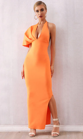 Drive Me Crazy Neon Orange Sleeveless Plunge V Neck Tie Halter Cut Out Back Bodycon Mermaid Maxi Dress