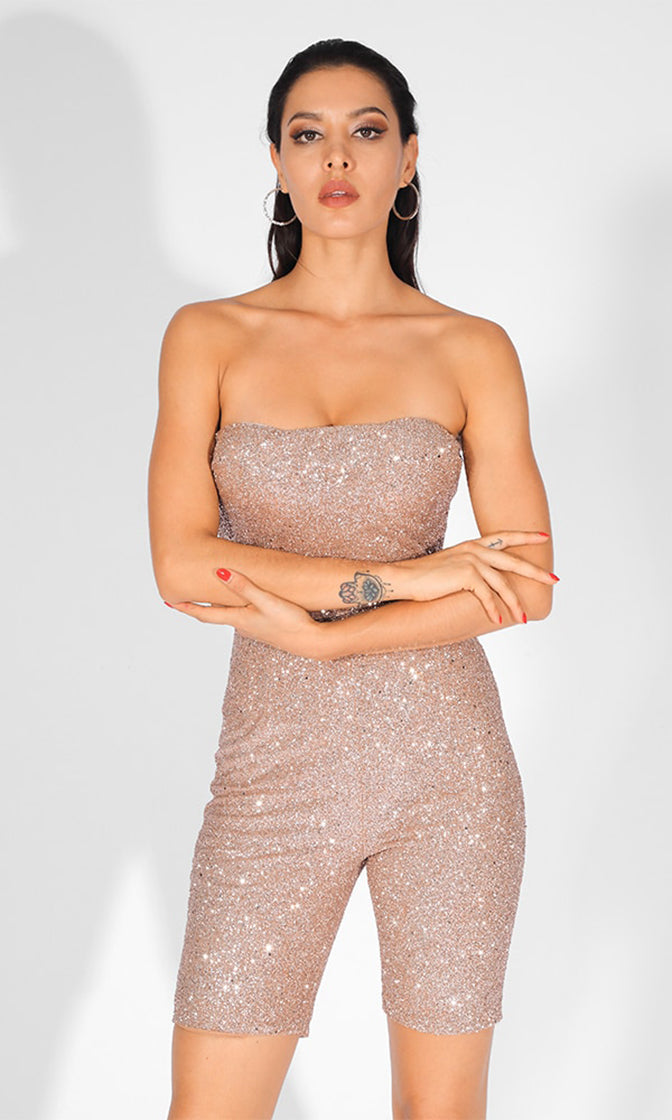 VIP Room Champagne Glitter Bead Strapless Bodycon Short One Piece Romper Playsuit