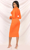Press To Play Neon Orange Long Sleeve Mock Neck Zip Front Bodycon Midi Dress