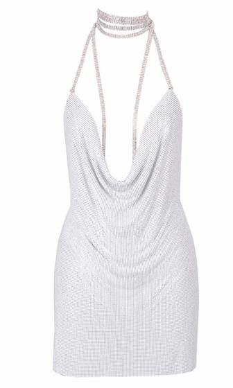 Indie XO White Chain Gang Metal Chainmail Plunge V Neck Backless Halter Mini Dress