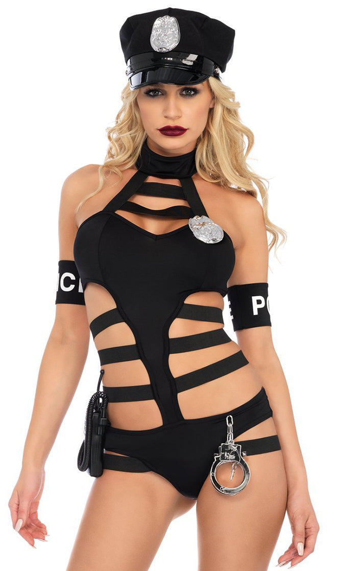 Bad Cop Black Sleeveless Mock Neck Cut Out Strappy Bodysuit Top Halloween Costume