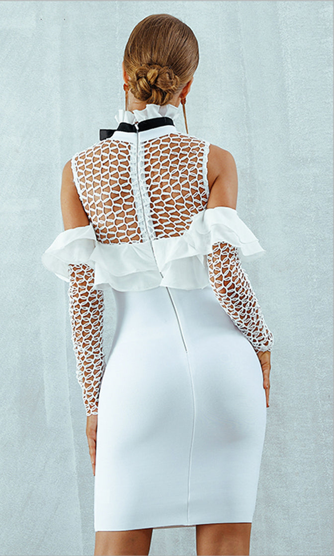 Sweet And Sour Sheer Fishnet Mesh Long Sleeve Off The Shoulder Ruffle High Neck Bandage Bodycon Mini Dress - 2 Colors Available