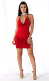 Get His Attention Red Sleeveless Spaghetti Strap Rhinestone Collar Drape V Neck Halter Cut Out Side Bodycon Mini Dress