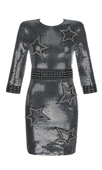 Midnight Dream Black Sequin Applique Star Pattern 3/4 Sleeve Round Neck Bodycon Mini Dress - Sold Out