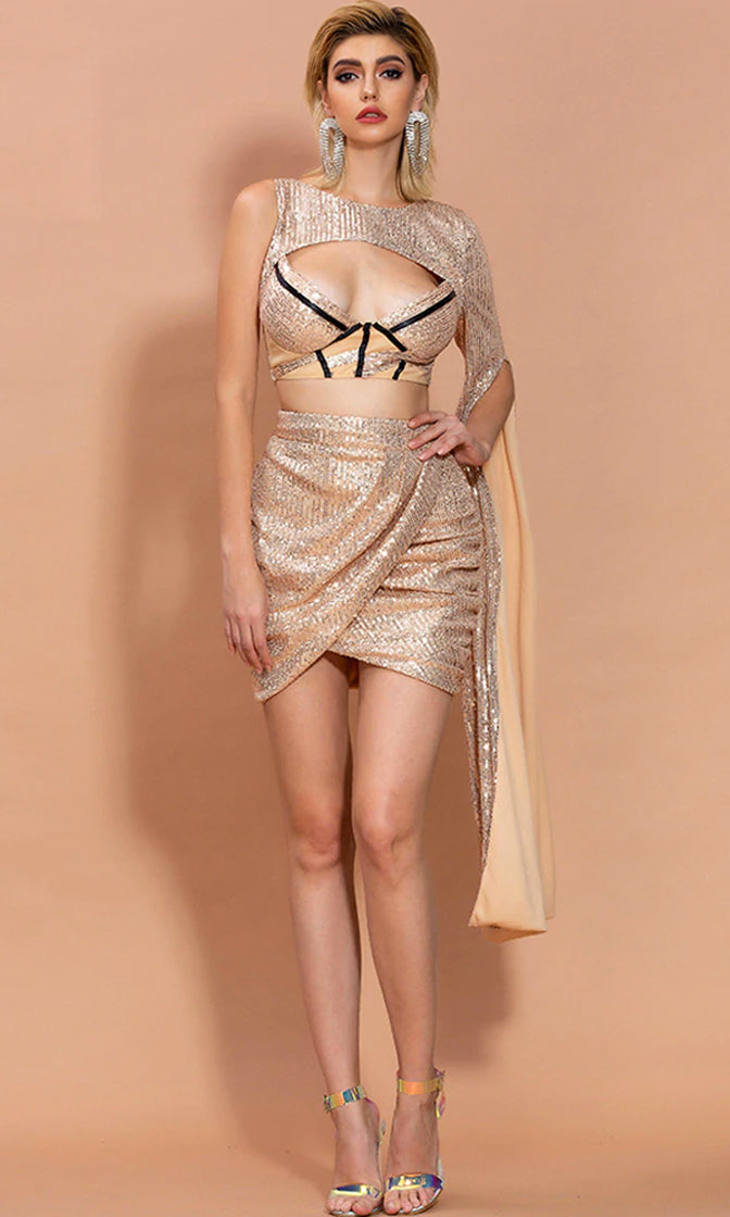 High Standards Sequin One Shoulder Long Sleeve Cape Cut Out Contrast Bustier Bodice Tulip Wrap Asymmetrical Hem Bodycon Two Piece Mini Dress - 2 Colors Available