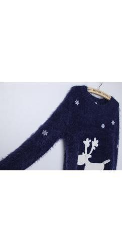 Navy Blue White Reindeer Snowflake Crew Neck Long Sleeve Pullover Christmas Sweater - Ships on or Before Dec 1st !!- Sold Out