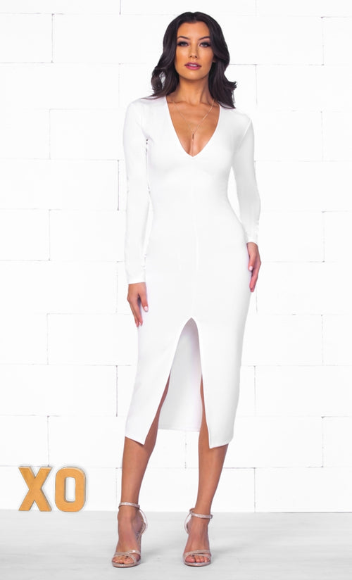 Indie XO Luscious Flirt White Long Sleeve Deep V Neck Sexy Tight Front Slit Bodycon Midi Dress - Just Ours!