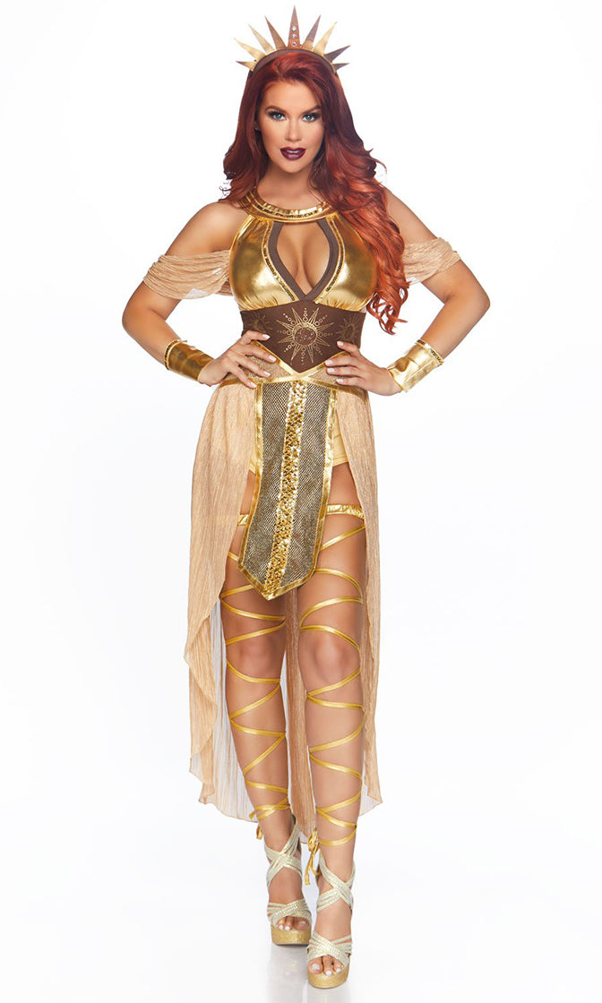 Sun Goddess Gold Short Sleeve Drape Off The Shoulder Halter Romper Slit Maxi Skirt Halloween Costume